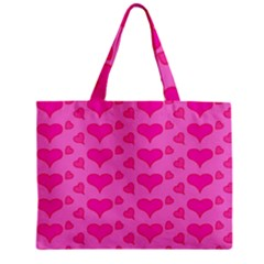 Hearts Pink Zipper Tiny Tote Bags