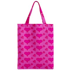 Hearts Pink Zipper Classic Tote Bags