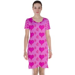 Hearts Pink Short Sleeve Nightdresses