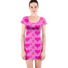 Hearts Pink Short Sleeve Bodycon Dresses