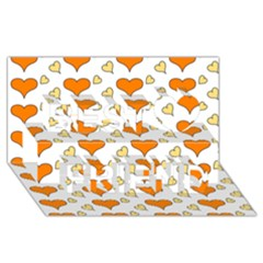 Hearts Orange Best Friends 3D Greeting Card (8x4)