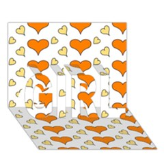 Hearts Orange GIRL 3D Greeting Card (7x5)