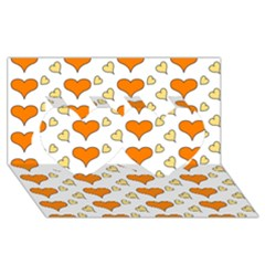 Hearts Orange Twin Hearts 3d Greeting Card (8x4)