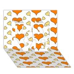 Hearts Orange LOVE 3D Greeting Card (7x5)