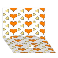Hearts Orange Heart Bottom 3D Greeting Card (7x5)