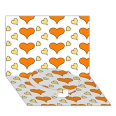 Hearts Orange Circle Bottom 3d Greeting Card (7x5)