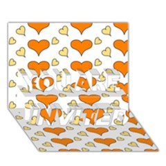 Hearts Orange YOU ARE INVITED 3D Greeting Card (7x5)