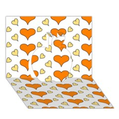 Hearts Orange Apple 3d Greeting Card (7x5)