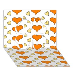 Hearts Orange Clover 3D Greeting Card (7x5)