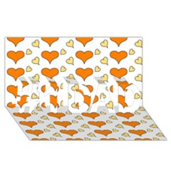 Hearts Orange #1 Dad 3d Greeting Card (8x4)