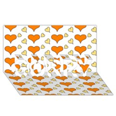 Hearts Orange SORRY 3D Greeting Card (8x4)