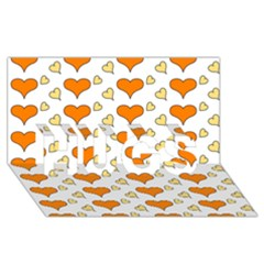 Hearts Orange HUGS 3D Greeting Card (8x4)