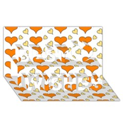 Hearts Orange Best Wish 3D Greeting Card (8x4)