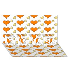Hearts Orange ENGAGED 3D Greeting Card (8x4)