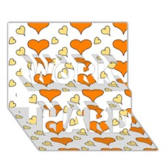 Hearts Orange WORK HARD 3D Greeting Card (7x5)