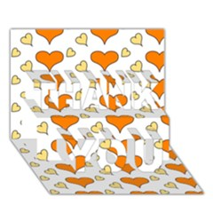 Hearts Orange THANK YOU 3D Greeting Card (7x5)