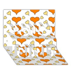 Hearts Orange You Did It 3D Greeting Card (7x5)