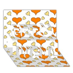 Hearts Orange Get Well 3d Greeting Card (7x5)