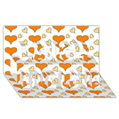 Hearts Orange Laugh Live Love 3D Greeting Card (8x4)