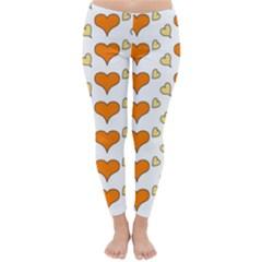 Hearts Orange Winter Leggings
