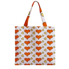 Hearts Orange Zipper Grocery Tote Bags