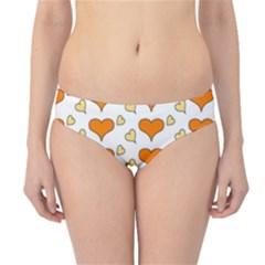 Hearts Orange Hipster Bikini Bottoms