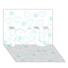 Flowers And Hearts I Love You 3d Greeting Card (7x5)