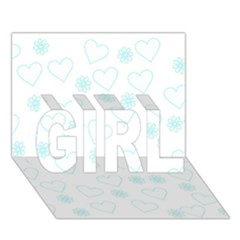 Flowers And Hearts Girl 3d Greeting Card (7x5)