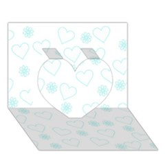 Flowers And Hearts Heart 3d Greeting Card (7x5)