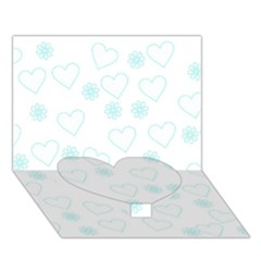 Flowers And Hearts Heart Bottom 3D Greeting Card (7x5)