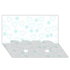 Flowers And Hearts Twin Heart Bottom 3d Greeting Card (8x4)