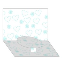 Flowers And Hearts Circle Bottom 3D Greeting Card (7x5)