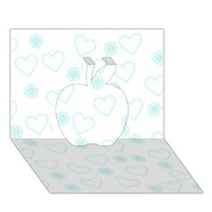 Flowers And Hearts Apple 3d Greeting Card (7x5)