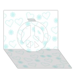 Flowers And Hearts Peace Sign 3D Greeting Card (7x5)
