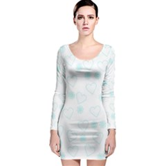 Flowers And Hearts Long Sleeve Bodycon Dresses