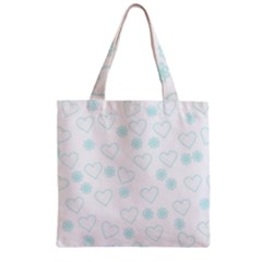 Flowers And Hearts Zipper Grocery Tote Bags