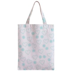 Flowers And Hearts Zipper Classic Tote Bags