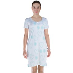 Flowers And Hearts Short Sleeve Nightdresses