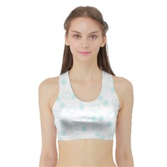 Flowers And Hearts Women s Sports Bra with Border