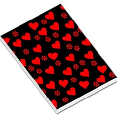 Flowers And Hearts Large Memo Pads