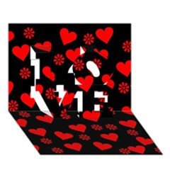 Flowers And Hearts Love 3d Greeting Card (7x5)