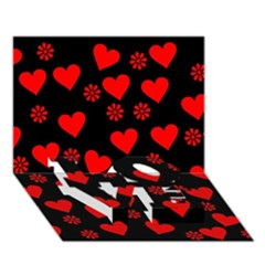 Flowers And Hearts Love Bottom 3d Greeting Card (7x5)