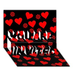 Flowers And Hearts YOU ARE INVITED 3D Greeting Card (7x5)
