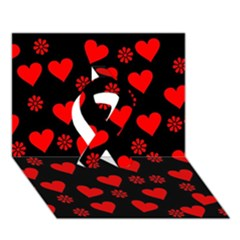 Flowers And Hearts Ribbon 3D Greeting Card (7x5)