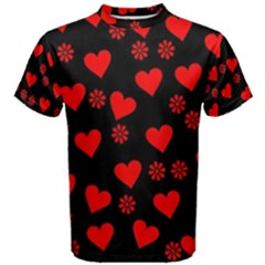 Flowers And Hearts Men s Cotton Tees