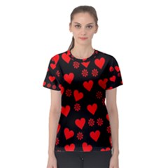 Flowers And Hearts Women s Sport Mesh Tees