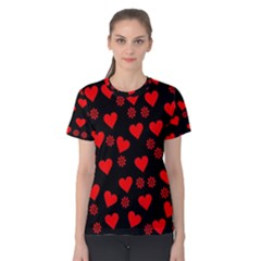Flowers And Hearts Women s Cotton Tees