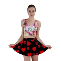 Flowers And Hearts Mini Skirts