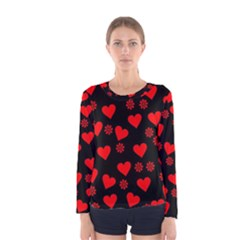 Flowers And Hearts Women s Long Sleeve T Shirts
