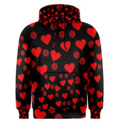 Flowers And Hearts Men s Pullover Hoodies